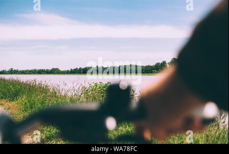 POV de ciclista que sujetan la palanca de mano con vistas al gran río Rin en Francia, cerca de la frontera con Alemania.