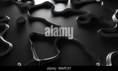 Diseño de formas abstractas sobre fondo oscuro reflectante con black metal líneas curvas 3d vista cercana.
