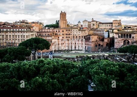 Roma Durante Las Horas Del Atardecer Visión Panorámica