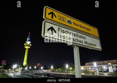 Bremerhaven, Alemania. 31 Aug, 2019. 'Puerto Pesquero - Museo Histórico' está escrito en un cartel de la calle. Crédito: Mohssen Assanimoghaddam/dpa/Alamy Live News