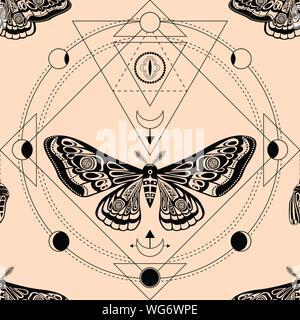 Night moth, pupa. Geometría Sagrada, símbolos esotéricos. Ilustración vectorial. Trama perfecta