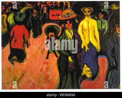 Ernst Ludwig Kirchner, calle, Dresden, pintura, 1908