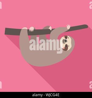 Feliz sloth icono. Ilustración plana de feliz sloth icono vectoriales para diseño web