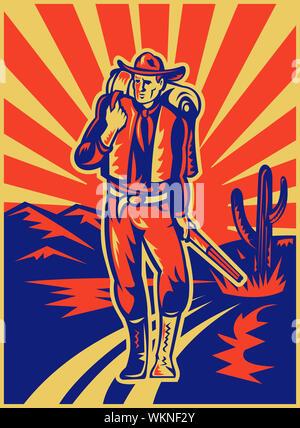 Ilustración de estilo retro de un vaquero llevar mochila y fusil caminando con las montañas del desierto y cactus en segundo plano. Foto de stock