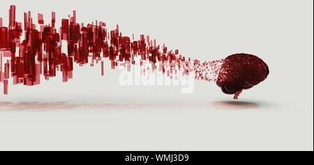 3D Render de cerebro digital rojo para disolver a los cubos de datos flotantes, panorámicas, mínimo concepto. Foto de stock