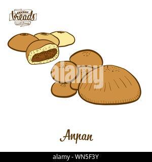 Color de dibujo Anpan pan. Ilustración vectorial de bollo dulce alimentos, generalmente conocido en Japón. Pan de color de bocetos.