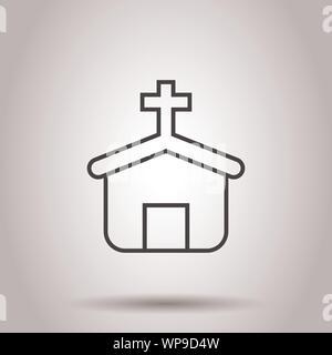 Icono de la iglesia en estilo plano. Capilla ilustración vectorial sobre el aislamiento del fondo. Edificio religioso concepto empresarial.