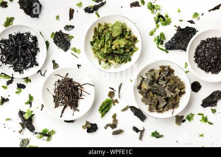 Diversas algas secas, verduras de mar, tomada desde arriba en blanco. Fuentes alimenticias antecedentes