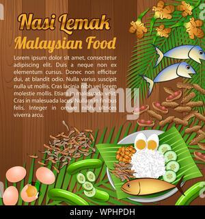 La Asean ingredientes alimentarios nacionales establecer elementos de banner en fondo de madera,Malasia,ilustración vectorial