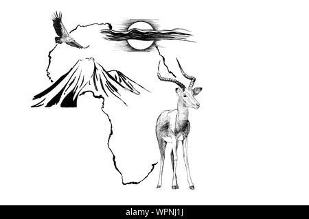 ANIMAL en África mapa de fondo con la montaña Kilimanjaro, el buitre y el sol. Colección de ilustraciones dibujadas a mano (originales, sin seguimiento)