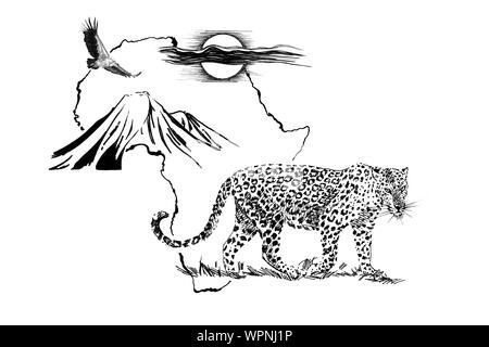 Leopard en África mapa de fondo con la montaña Kilimanjaro, el buitre y el sol. Colección de ilustraciones dibujadas a mano (originales, sin seguimiento)
