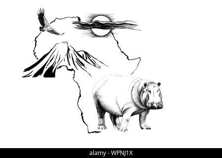 Hippo en África mapa de fondo con la montaña Kilimanjaro, el buitre y el sol. Colección de ilustraciones dibujadas a mano (originales, sin seguimiento)