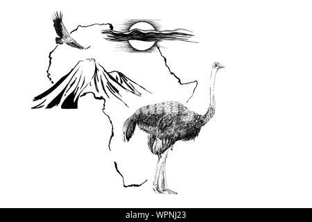 El avestruz en África mapa de fondo con la montaña Kilimanjaro, el buitre y el sol. Colección de ilustraciones dibujadas a mano (originales, sin seguimiento)