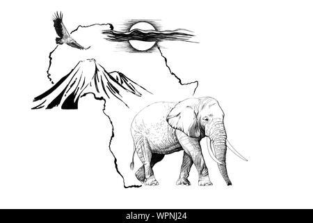Elefante en África mapa de fondo con la montaña Kilimanjaro, el buitre y el sol. Colección de ilustraciones dibujadas a mano (originales, sin seguimiento)