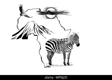 Zebra sobre África mapa de fondo con la montaña Kilimanjaro, el buitre y el sol. Colección de ilustraciones dibujadas a mano (originales, sin seguimiento)