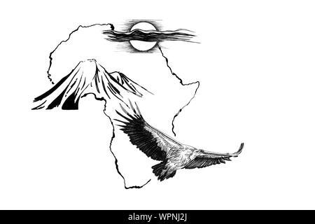 Buitre sobre África mapa de fondo con la montaña Kilimanjaro y el sol. Colección de ilustraciones dibujadas a mano (originales, sin seguimiento)