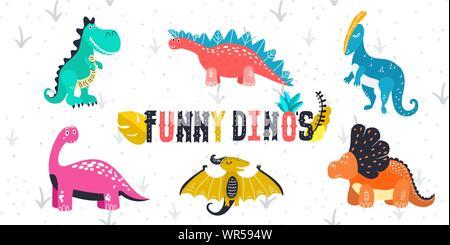 Una Caricatura De La Ilustración De Un Dinosaurio