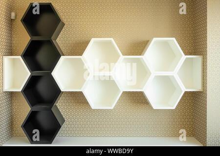 Estantes de pared en forma de hexágonos en blanco y negro. Los panales de miel de abeja