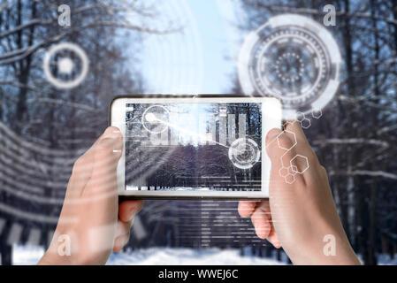 Dispositivo de realidad aumentada mediante tecnología inteligente, mezcla de realidad virtual y aumento a través de la aplicación de la inteligencia artificial y comput