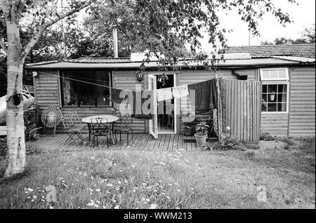 Estilo de cabaña de troncos, casas móviles, Hattingley Medstead, Alton, Hampshire, Inglaterra, Reino Unido.