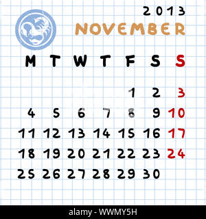 2013 Calendario Mensual De Febrero Con Acuario Signo Zodiaco