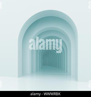 Ilustración 3d de antecedentes arquitectónicos con arcos