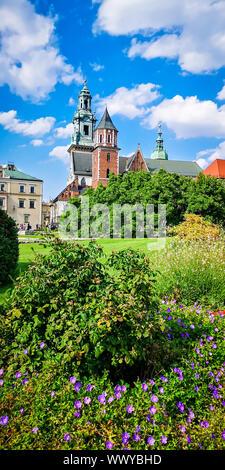 Castillo medieval de Wawel, en Cracovia, Polonia. Basílica de San Estanislao y Vaclav o la catedral de Wawel sobre la colina de Wawel con coloridas flores en primer plano