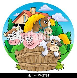 Grupo de país animales - ilustración en color.