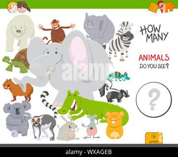 Contar los animales tarea educativa para niños
