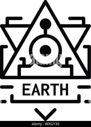 Icono de alquimia de tierra. Esquema alquimia tierra icono vectoriales para diseño web aislado sobre fondo blanco.