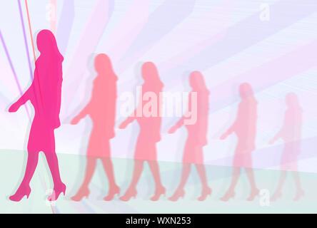 Mujer de desarrollo de carrera. Siluetas de mujeres empresarias en trajes caminando delante de fondo lineal abstracto