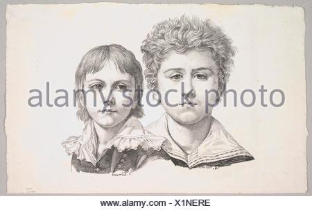 Retrato del Rabe Niños: Hermann, de 14 años de edad y Edmond, de 7 años de edad; el verso: prueba antes de la corrección de pequeños defectos en las imágenes. Artista: Johann