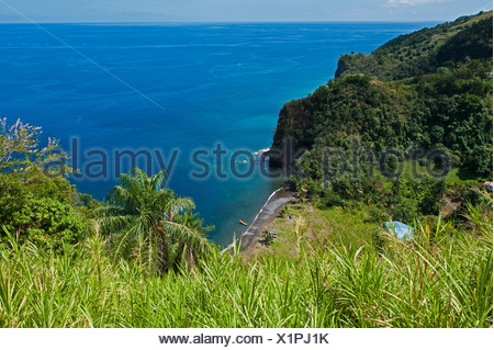 En vista de la profundidad en una playa de arena del Caribe, San Vicente y las Granadinas, L'Anse Mahaut Bay