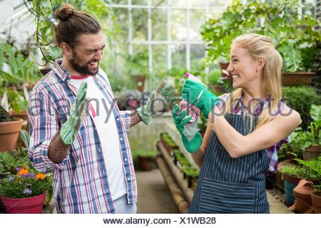 Alegre jardinero rociado de agua sobre su colega en el invernadero