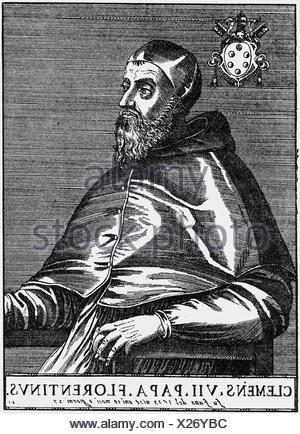 Clemente VII (Giulio de Medici), 26.5.1478 - 25.9.1534, Papa 19.11.1523 - 25.9.1534, longitud media, corte de madera, siglo 17, ,