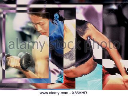 Mujer Asiática en el gimnasio con pesas