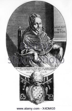 Clemente VIII (Ippolito Aldobrandini), 24.2.1536 - 3.3.1605, Papa 30.1.1592 - 3.3.1605, de longitud media, grabado en cobre, del siglo XVII, , Copyright del artista no ha de ser borrado