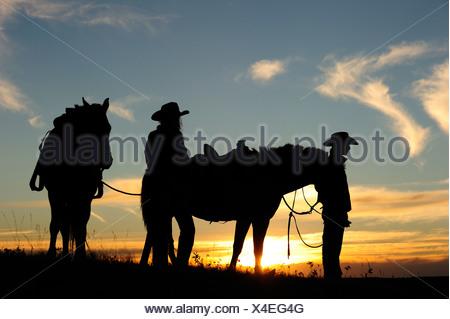 Cowgirl y cowboy con caballos al atardecer, Saskatchewan, Canadá, Norteamérica Foto de stock