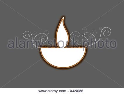 Diwali lámpara de aceite aislado sobre fondo gris