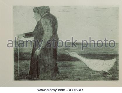 """Bellas artes, Paula Modersohn-Becker (1876 - 1906), grafik, """"Mujer con gallina, aguafuerte aquatinta, 1902, la Kunsthalle de Kiel, , Copyright del artista no ha de ser borrado Foto de stock"""