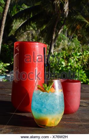 Cócteles, North Island, Seychelles, África, bar en la playa Foto de stock