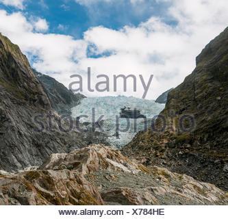 Lengua glaciar, el glaciar Franz Josef, West Coast, Southland, Nueva Zelanda