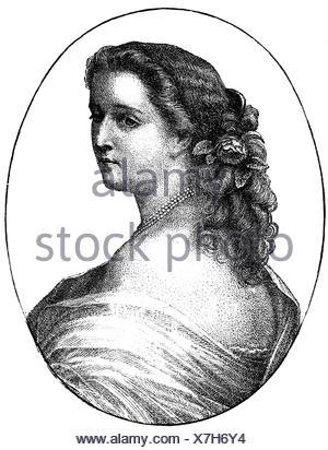 Eugenie, 5.5.1826 - 11.7.1920, Empress Consort of France 30.1.1853 - 4.9.1870, longitud media, grabado en madera después del grabado por Metzmacher, 1860, , Foto de stock