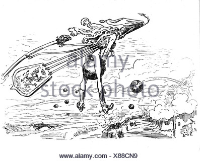 Münchhausen, Barón Karl Friedrich Hieronymus, Freiherr von, 11.5.1720 - 22.2.1797, escena de sus aventuras: Volar sobre canonball, grabado en madera siglo 19,