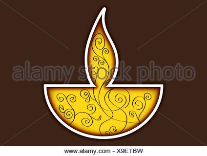 Diwali lámpara de aceite aislado sobre fondo de color