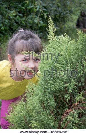 Niña jugando en escondite Foto de stock