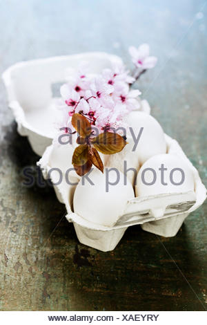 Los huevos de pascua y primavera de los cerezos en flor en mesa de madera