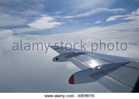 Avión, detalle, ala, nubes, aerofoil,