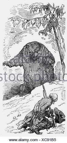 Munchhausen, Karl Friedrich Hieronymus von, 11.5.1720 - 22.2.1797, oficial alemán, aventuras, caza un oso, el grabado en madera por Gustave Doré, 1866, Copyright del artista , no tiene que ser borrados
