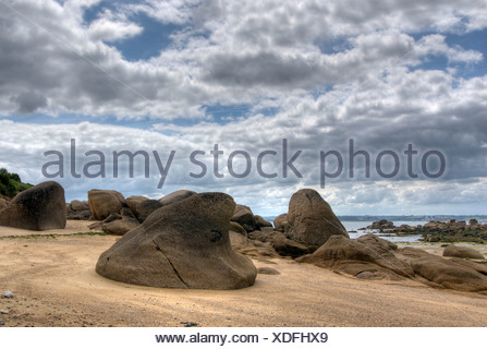Rocas en la playa, Ile Callot, Finistre, Bretagne, Bretaña, Francia, Europa